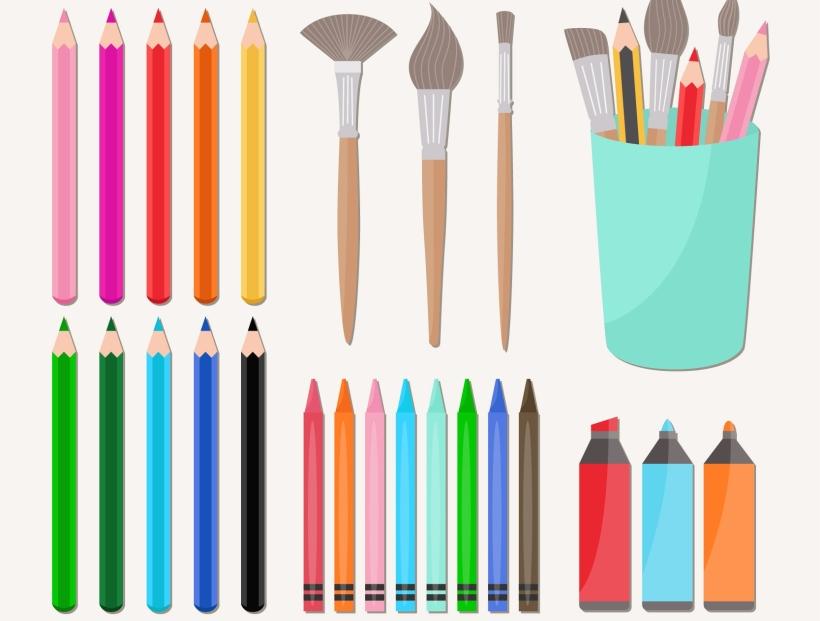 crayons et pinceaux pour penser le logo