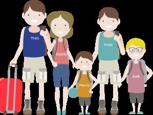 Les cinq membres de la famille en illustration